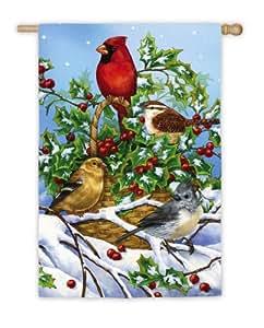 Cesta de Holly con diseño de pájaros de la bandera de casa