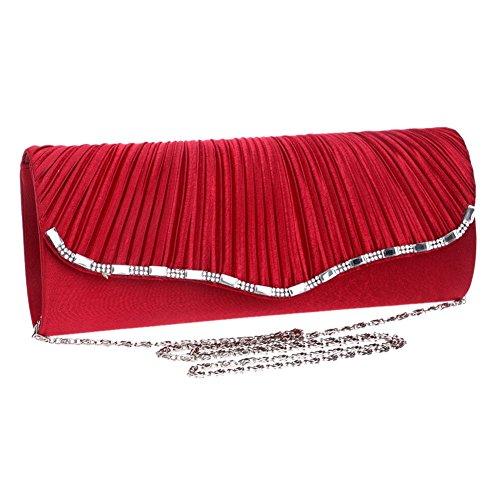 Sac Main De Épaule en D'enveloppe Dehors Red À Mariage Femmes Soirée Chaîne Orfila Pochette Robe Froncé 6Pw7xczqH