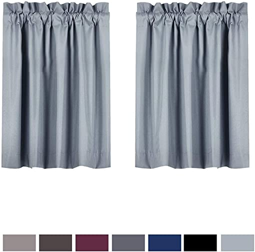 Valea Home Blackout Tiers Curtain for Small Window Rod Pocket Kitchen Curtains Room Darkening Short Curtains for Bedroom, Light Grey, 30 inch x36 inch, 2 Panels