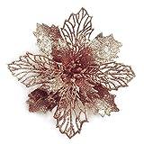 GL-Turelifes - Juego de 12 flores de poinsettia artificiales con purpurina, para árbol de Navidad, flores de 16 cm de diámetro, con 12 púas verdes suaves, Flor de Pascua artificial., Rose gold, 12