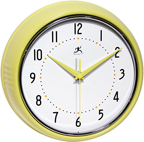 (Infinity Instruments 10940-AURA Retro 9-1/2-Inch Metal Wall Clock,Yellow)