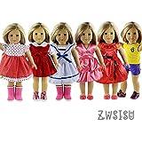 ZWSISU 6 pc American girl doll clothes(not include doll and shoes) for 18 inch American girl doll