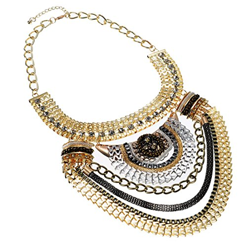Fashion-Multi-Gold-Tone-Grey-Black-Chains-White-Crystal-Statement-Bib-Necklace