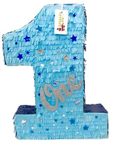 (APINATA4U Large Blue & Gold Number One with Stars Twinkle)