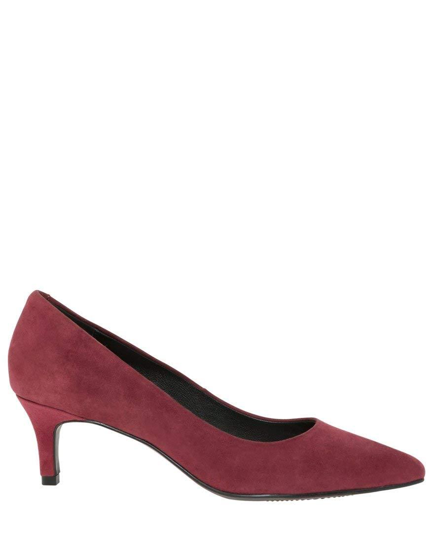 LE CHÂTEAU Women's Suede Pointy Toe Kitten Heel Pump,10,Berry