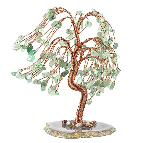 Top Plaza Green Aventurine Chakra Healing Crystals Copper Money Tree Wrapped On Natural Agate Slices Geode Base Lucky Reiki Feng Shui Figurine Statue