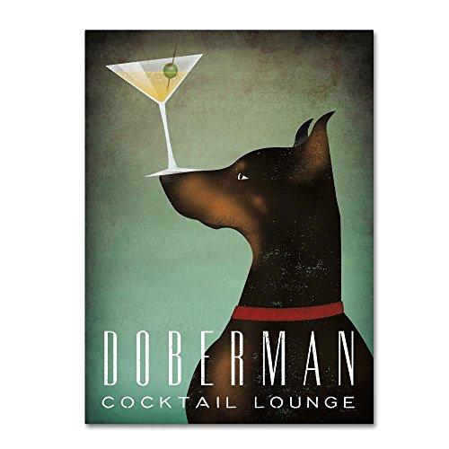 Doberman Martini by Ryan Fowler, 18x24-Inch Canvas Wall (Martini Dog Art)