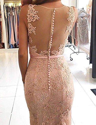 Mermaid Evening V Gowns Formal Peach Women's Lace Dress DMDRS Pink Long Sheer Neck x0Bp5Yvn