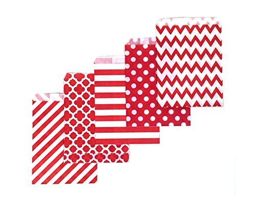 80 Counts Medium Red Biodegradable, Food Safe Ink & Paper, Assorted 3 Designs Cookie Bag, Eco-Friendly Favor Bag, Treat Bag for Party (Medium, Red)