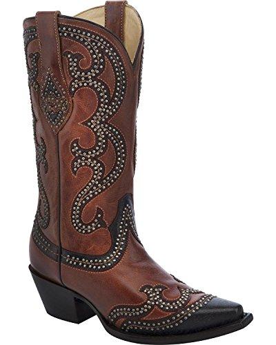 Corral Dames Bezaaid Overlay Cowgirl Laars Knip Toe Teen - G1293 Cognac