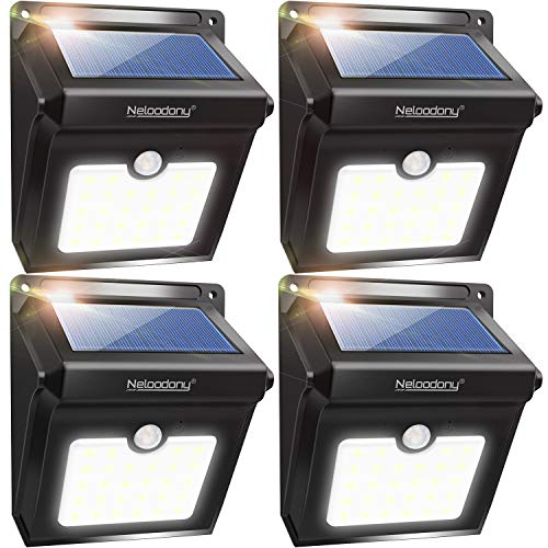 Neloodony Solar Lights Outdoor, Wireless 28 LED Motion Sensor Solar Lights with Dark Sensing Auto On/Off, Easy Install Waterproof Security Lights for Front Door, Back Yard, Driveway, Garage (4 Pack) (Lighting Outdoor Lights Porch Solar)