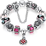Carina Sterling Silver Plated Style Charms Bracelet with Flower and Youth for Women Girls