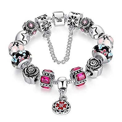 9f39ce574 Image Unavailable. Image not available for. Colour: Carina Sterling Silver  Plated Pandora Style Charms Bracelet ...