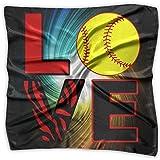 LOVE Softball Unisex Silky Scarf Neck Wraps Bandana Scarves Set