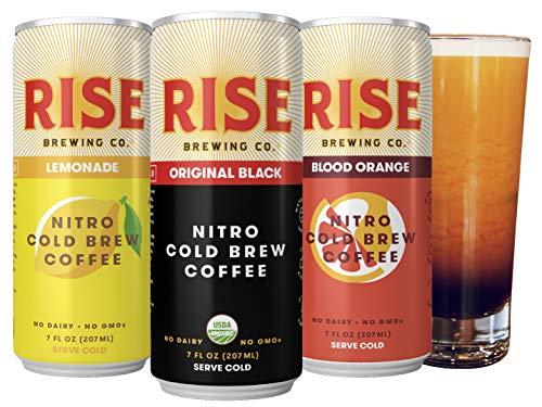 RISE Brewing Co. | Nitro Cold Brew Coffee (12 7 fl. oz. Cans [4 Original Black, 4 Blood Orange, 4 Lemonade]) - Gluten & Dairy Free | Organic, Non-GMO, Vegan Ingredients | Clean Energy & Low Acidity