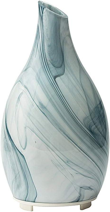 超音波アロマディフューザー 寝室加湿・睡眠補助香炉 サイレントエッセンシャルオイルランプ 専用スプレーランプ 手作りガラスカバー (Color : 白, Size : 12*12*22cm)