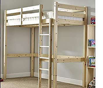 Chester High Sleeper Bunk Bed In Natural Pine 185 Cm H X 173 Cm W X