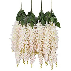 Duovlo Silk Wisteria Flower Artificial 2.13 Feet Hanging Wisteria Vine Fake Flower Bush String Home Party Wedding Decoration,Pack of 4 (Light Pink) 46