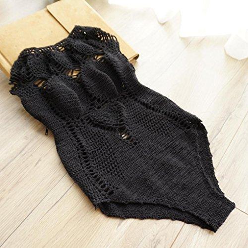 OverDose Bohemio Mujeres Hecho a mano Hecho de una pieza mono traje de bikini Set traje de baño traje de baño Beachwear Negro