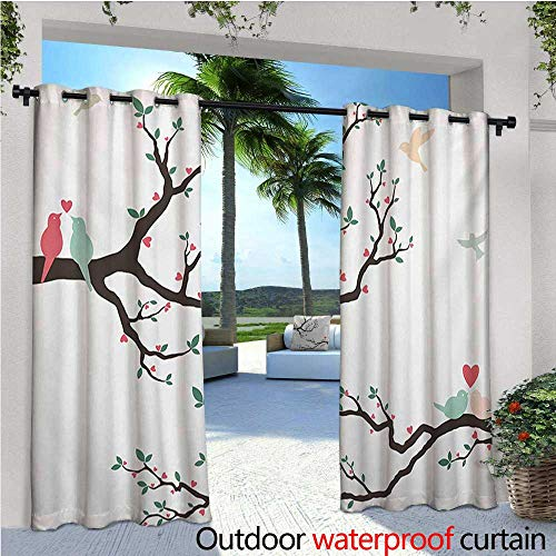 - Love Outdoor- Free Standing Outdoor Privacy Curtain Birds on The Tree Serenade Nostalgic Partners Ceremony Valentines Romance Theme for Front Porch Covered Patio Gazebo Dock Beach Home W96 x L108 G