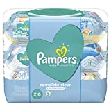 Pampers Baby Wipes Complete Clean SCENTED 3X Pop-Top, Hypoallergenic and Dermatologist-Tested, 216 Count