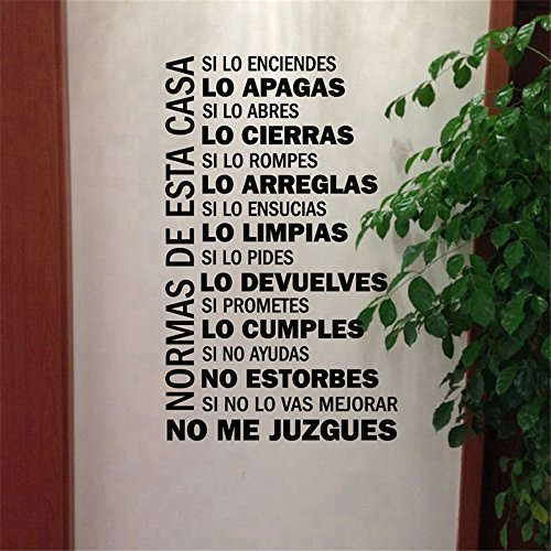 Vinyl Removable Wall Stickers Mural Decal Spanish House Rules Home Decor Family Quote in Spanish House Decoration -