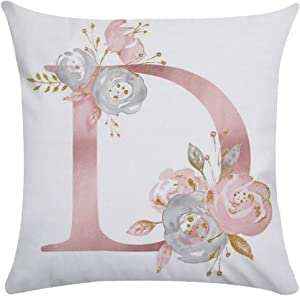Tillskuch Throw Pillow Covers 26 Decorative English Letters Floral Pillowcases Velvet Soft Cushion Cover White Pillow Protectors for Sofa Bedding Car and Home Decor (18x18 / 45x45cm, Letter D)