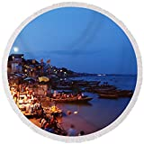 Pixels Round Beach Towel With Tassels featuring ''Varanasi, India'' by Pixels