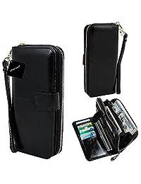 xhorizon TM SR Women Large Capacity Leather Zipper Wallet Purse Wristlet Handbag with Removable Wrist Strap for iPhone SE/5/6/6 Plus Samsung S5/S6/S6Edge/S7/S7Edge + LG G3 G4 G5 (Black)