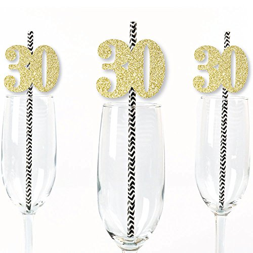 Gold Glitter 30 Party Straws - No-Mess Real Gold Glitter Cut-Out Numbers & Decorative 30th Birthday Party Paper Straws - Set of -