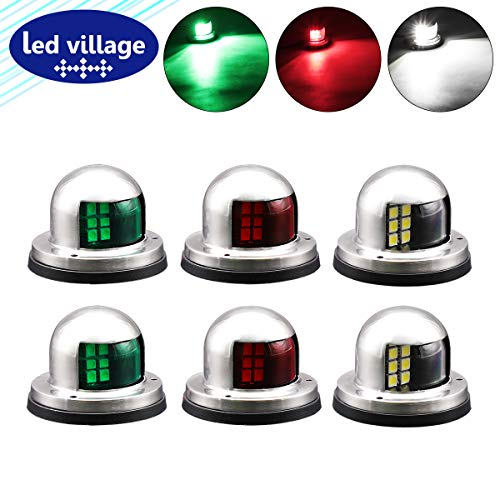 6 Pcs LedVillage 2 Red + 2Green + 2White Marine Port Side Lamp LED 8 Diodes Sailing Signal Navigation Bow Lights with Stainless Steel Cover Fishing Ferry Boat Cruise Barge Ship 12V DC Waterproof RR12