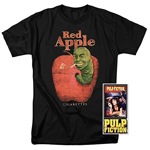 Popfunk Pulp Fiction Movie Red Apple Cigarettes T Shirt & Exclusive Stickers (Medium)