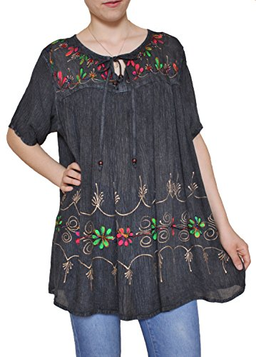 Sacred Threads Hand Painted Tunic in 6 Colors – One Size #218352 Gray