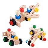 Wooden Building Construct Screw Toy. Large chunky colour nuts & bolts tools engineering builders, construction buildings toys for boys and girls. Preschool kids educational games, learning resources 30 piece construction builders set for montessori children activities.