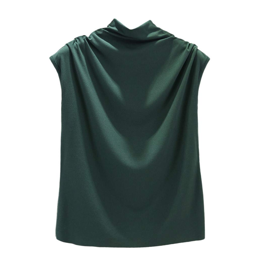 Libermall Women's Tank Tops Loose Fit Summer Solid Turtleneck Cotton Cami Vest Sleeveless Shirts Blouse Tops Green