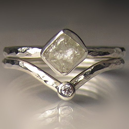 White Raw Diamond CubeEngagement Set