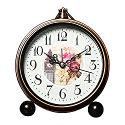 Vintage Silent Desk Alarm Clock Non Ticking Quartz Movement Battery Operated , HD Glass Lens, Easy to Read (5)