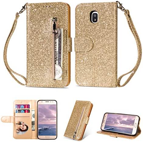 Galaxy J7 2018 Case, Bling Shiny Glitter Leather Wallet Case with Zipper Kickstand Magnetic Closure Card Slots Shockproof Soft TPU Back Bumper Protective Cover for Samsung Galaxy J7 2018 - Gold
