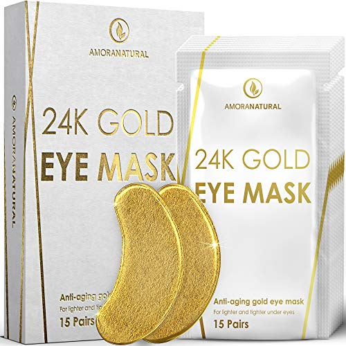 24K Gold Eye Masks - 15 Pairs | Under Eye Patches | Under Eye Bags & Dark Circles Treatment | Vegan & All-Natural.