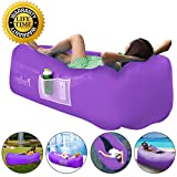 Prodigen Inflatable Lounger Chair, Air Sofa Inflatable Couch Outdoor Anti-Air Leaking Waterproof Portable Inflatable Hammock Air Couch Pool, Floor, Camping, Beach (Purple)