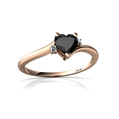 Amazon.com: 14 kt oro negro Onyx y diamantes 5 mm Corazón ...