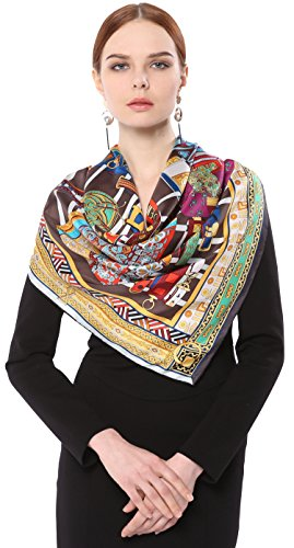 Grace Scarves 100% Silk Scarf With Hand Rolled Edges, Large, Precious Collars, Multicolored (Rib Pattern Scarf)