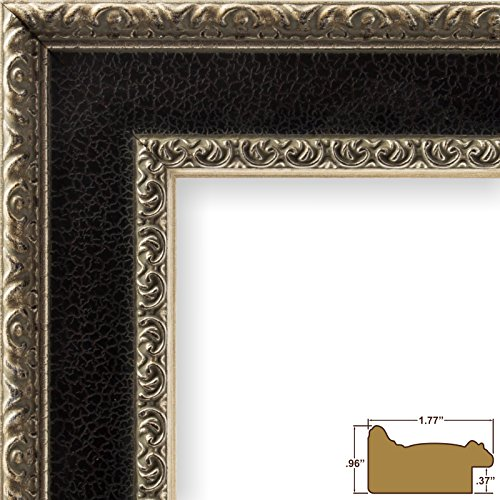 Craig Frames 9600 24 by 36-Inch Poster Frame, Solid Wood, 1.75-Inch Wide, Black and - Solid Frame Silver