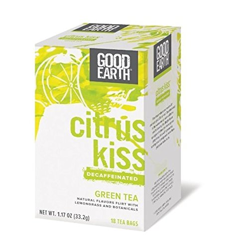 Good Earth Green Tea Decaffeinated Citrus Kiss, 18 Tea Bags (6 Pack)