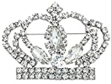 Soulbreezecollection Princess Crown Tiara Brooch Pin Wedding Bridesmaid Clear Rhinestones Jewelry
