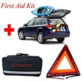 Autofather All-In One First Aid Kit 123-Piece Roadside Assistance Auto Car Emergency Kit with Jumper Cables, First Aid Kit Items/Medicine, and Critical Survival Items for Emergency at Home, Outdoors