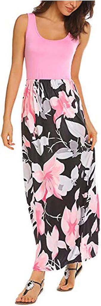 Randolly Womens Dresses,Womens Summer Bohemia Sleeveless Floral Print Tank Sundrss Beach Long Maxi Dress