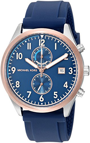 Michael Kors Men's Stainless Steel Analog-Quartz Watch with Silicone Strap, red, 20 (Model: MK8573) (Red Michael Kors Watch Men)