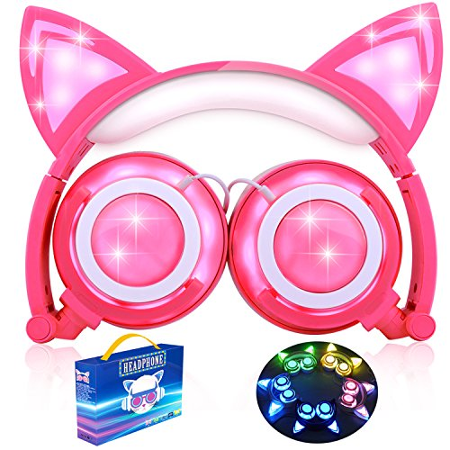 Kids Cat Ear Headphones with Glowing LED Light USB Rechargable 85dB Volume Limited Adjustable Headband 3.5mm Jack Over/On Ear Earphones Foldable Game Headset for Girls Boys Toddlers (Pink,Red)