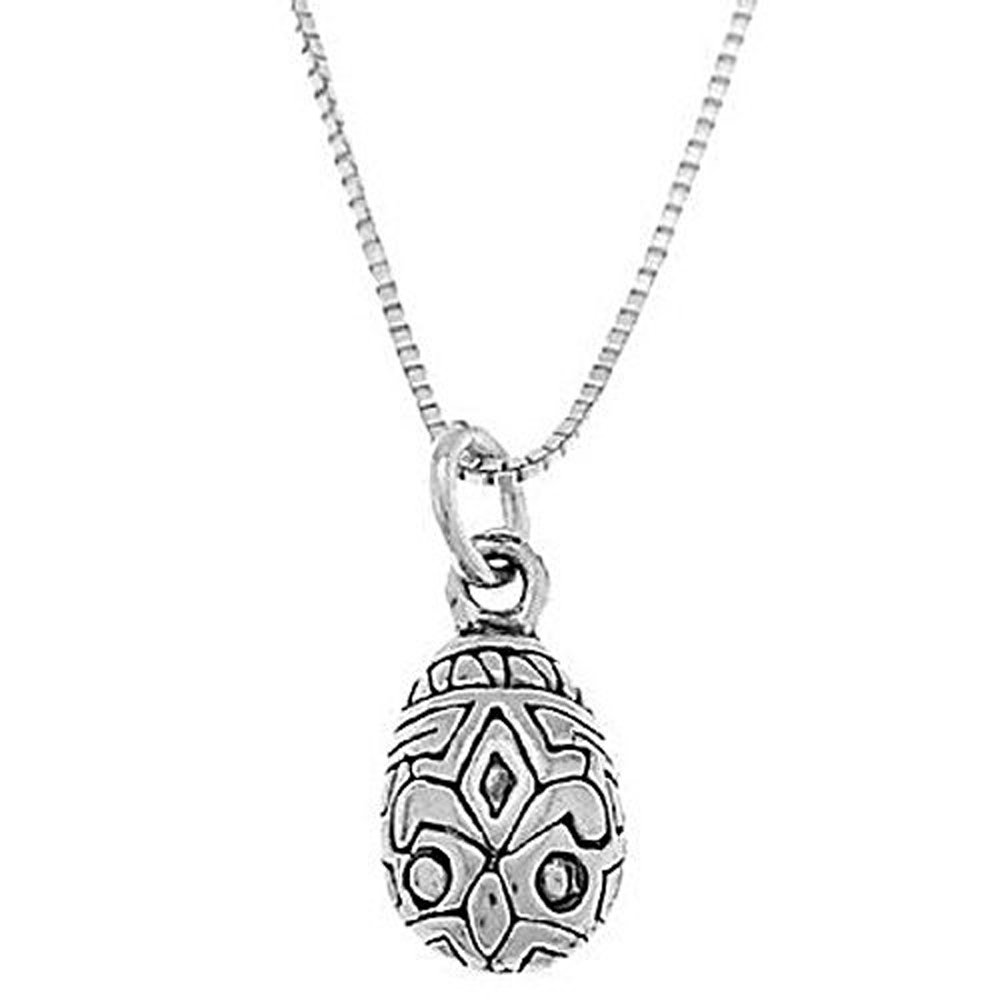 Sterling Silver One Sided Easter Egg Necklace